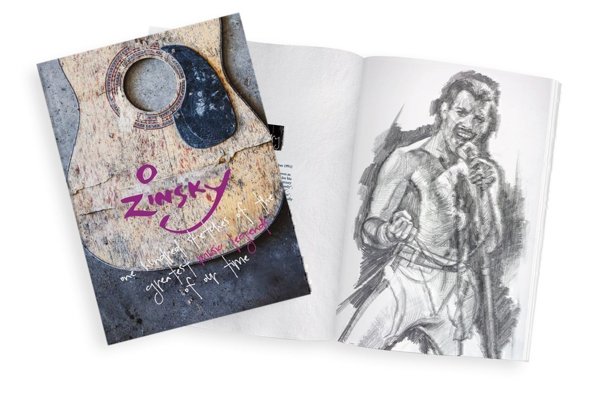 100 Sketches of the Greatest Music Legends of our Time by Zinsky -  sized 10x13 inches. Available from Whitewall Galleries